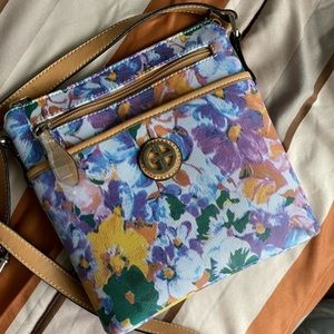 GIANI BERNINI FLORAL CROSSBODY BAG BROWN STRAP